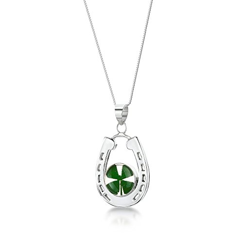 Sterling Silver Real Flower Pendant Necklace - Four-Leaf Clover - Horseshoe - 18' chain included