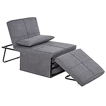HOMCOM 4 in 1 Multi Function Folding Single Sofa Bed with Ottoman Sleeper Adjustable Backrest Lounger Convertible Upholstered Couch for Living Room Small Space Grey