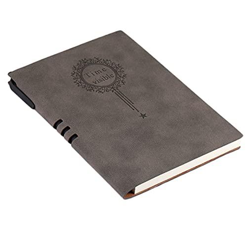 Binn Diario Cuaderno de Cuero-A5 Negocio Notebook Simple Office Papelería Cuaderno Cuaderno Retro Diario Conferencia Grabar Libro con Pluma de la Firma Sketchbook (Color : Gris)