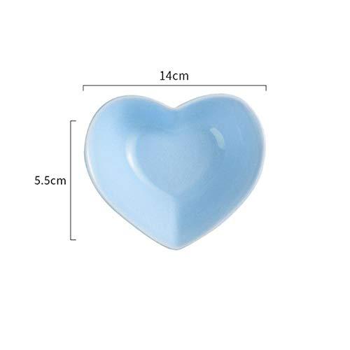 QVC Solid herzförmige keramikplatte nuss Snack Teller salatschüssel Grill Sauce Teller Dessert Obst Abendessen tablett, Blau, 14x14x5,5 cm