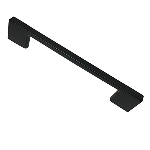 Southern Hills Satin Black Cabinet Handles | 3.75 Inch Screw Spacing | Pack of 5 Contemporary Drawer Pulls | Modern Cabinet Hardware SH3229-96-BLK-5