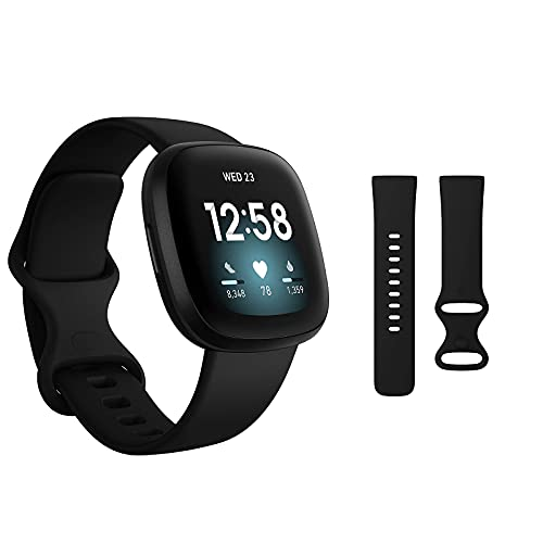 BORNKU Fitbit Versa 3 Health & Fitness Smartwatch with GPS, 24/7 Heart Rate, Voice Assistant & up to 6+ Days Battery, Black/Black + Sports Band