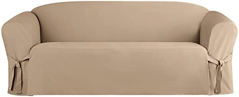 Best SURE FIT Heavyweight Cotton Duck One Piece Slipcover (Khaki, Box Cushion Sofa)