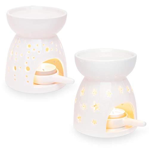 Ligano Duftlampe aus Keramik – Aromalampe mit Teelicht-Halter – Große Wasserschale für Lange Brenndauer – Punkte und Sterne Muster (2er Set)