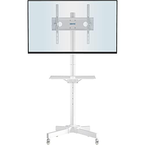 BONTEC Soporte TV Ruedas Soporte TV Suelo para 23-60 Pulgadas Plasma/LCD/LED Soportes TV de Pie para Pantalla Plana Móvil Carro de Exhibición Trole, Máx. VESA 400x400 mm Blanco