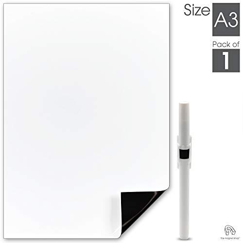 The Magnet Shop Magnetisches Whiteboard – Kühlschrank Whiteboard - Für Notizen, Termine, Mahlzeiten Planen in Haus, Büro und Küche - A3