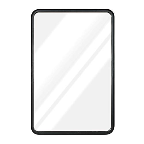 """20"""" x 30"""" Black Mirror For Wall- Sturdy Metal Black Framed Mirror - Rectangle Mirror With Beautiful Metal Frame For Bathroom, Entryway, Living Room & More! Black Framed Rounded Corner Deep Set Design"""
