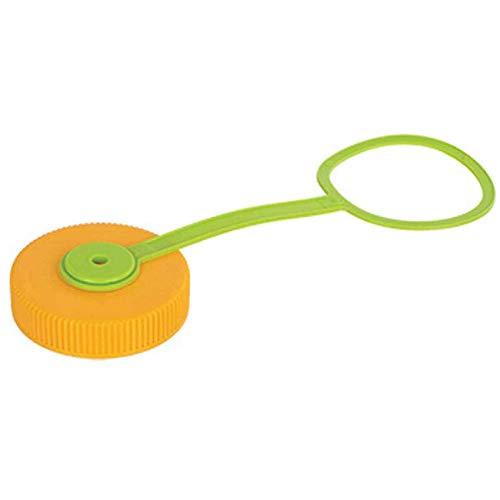 Nalgene LID WM LPTP Orange/GRN (Bulk), Wide Mouth