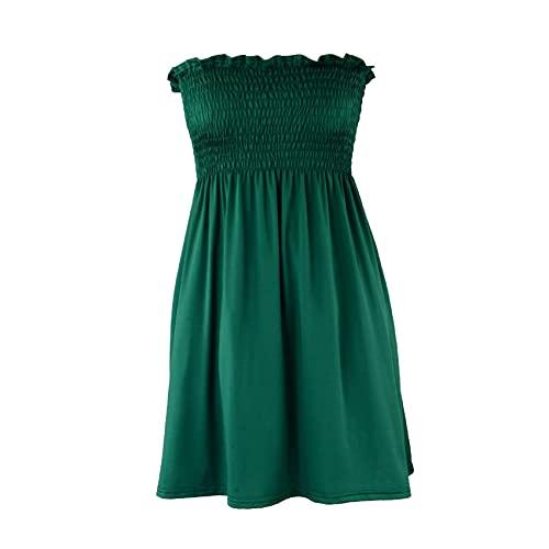 KeYIlowys Casual Damen Strandkleid, elastischer Gürtel trägerloses rückenfreies dünnes Kleid Sommer einfarbig dünnes Kleid