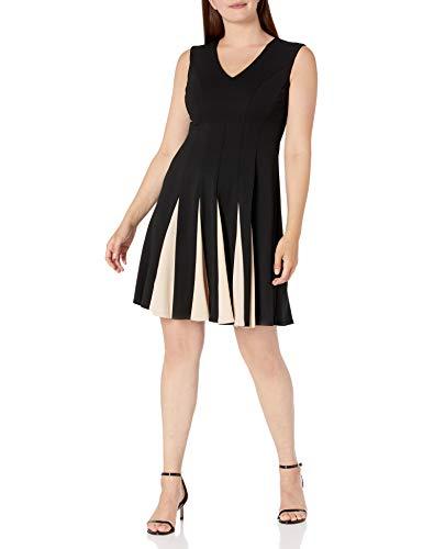 Sandra Darren Women's 1 PC Extended Shoulder Scuba Crepe Fit & Flare Dress, Black/Tan, 14 (Apparel)
