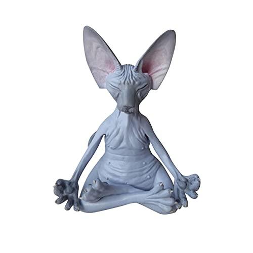 OCGDZ Caprichoso Negro Buda Estatua Estatua de Gato meditación decoración Feliz Gato decoración Escultura jardín Estatua decoración del hogar (Color : C 4x4x8cm)