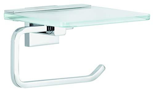 tesa DELUXXE Toilettenpapierhalter mit Ablage, modernes Design, Metall, verchromt, inkl. Klebelösung, rostfrei, 99mm x 160mm x 139mm