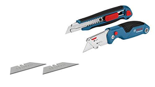 Bosch Professional 2 tlg. Messer Set (mit Universal Klappmesser und Profi Cuttermesser, inkl. Ersatzklingen, in Blister)