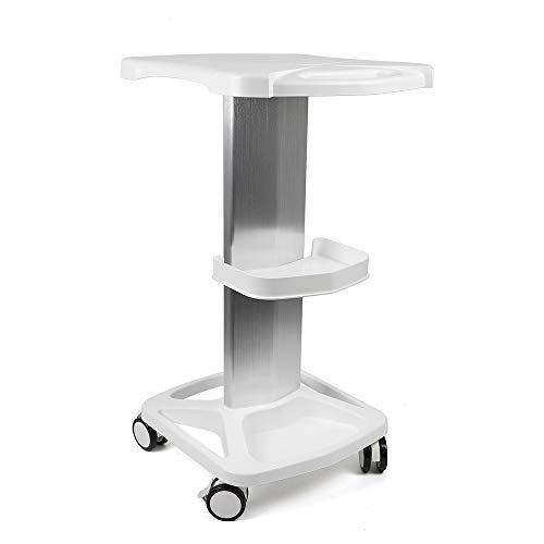 Aluminum Alloy Trolley Stand Assembled For Ultrasonic Cavitation RF Machines Salon Spa Beauty Tattoo Rolling Cart Tray USA STOCK (White)