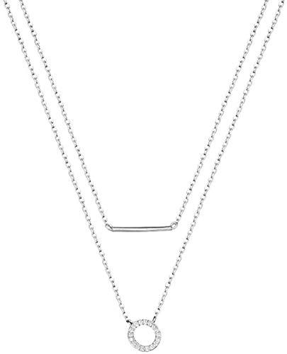 Yaoliangliang Collar Cadena de Doble diseño Cadena de clavícula Femenina