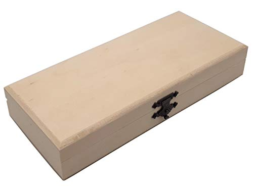 benelea | Holzbox Holzkiste mit Deckel | 22,5 x 10 x 4,2 cm Holzschatulle | Holzkisten, Schachtel Holzschatulle, Kiste zur Aufbewahrung | Holztruhe als Geschenkidee zum bemalen, basteln und verzieren