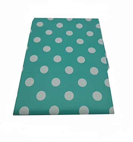 NAUTICALMANIA Mantel Cuadrado PVC Hule Plastificado 140x140 Verde Menta con Lunares Blancos. Anti-Manchas Fácil Limpieza y Desinfección con Trapo Húmedo