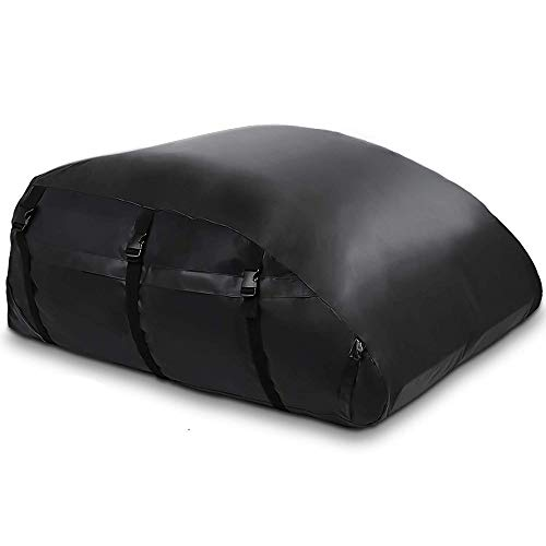 Car Roof Bag, 560 Liters Large Rooftop Cargo Carrier Bags Waterproof Folding Soft Luggage Storage Bag for Any Cars with Roof Rack Rails or Bars, 20 Cubic Feet, Black