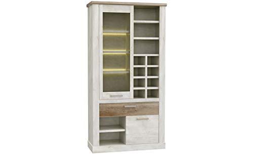 Furniture24 Vitrine Duro DURV821L Standvitrine, Wohnzimmerschrank, Vitrinenschrank mit 2 Türen und Schublade (Mit Beleuchtung)