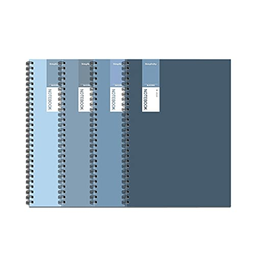 SUISHI Diario de Cuaderno de Espiral de Cubierta Suave/de 4 Paquetes/Nota gobernada por la Universidad Diario del Diario / 160- Página / 80- Hoja / 5.5 en x 8.1in (Azul) A5