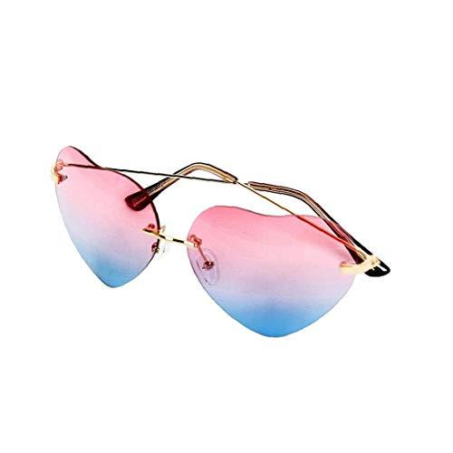 IUwnHceE Amor en Forma de corazón Gafas de Sol sin Montura Gafas de Sol Rojo a Azul Degradado Lente único Metal Armas para la Herramienta al Aire Libre Muchacha de la Mujer (Rosa)