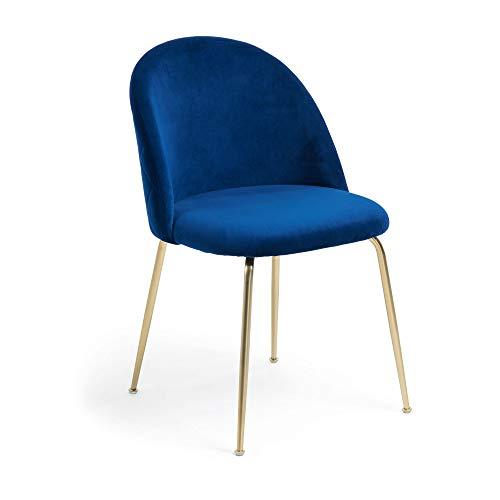 Kave Home - Silla de Comedor Ivonne Azul de Terciopelo con Patas de Acero en Dorado