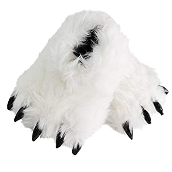 Cute Fuzzy Bear Claw Slippers Fluffy Animal Slippers Funny Paw Monster House Shoes for Christmas