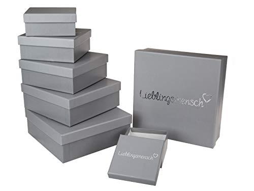 Out of the Blue 101686 - Geschenkboxen Lieblingsmensch, 8 Stück im Set, grau, in verschiedenen Größen ca. 22,5 x 22,5 x 8 cm und kleiner