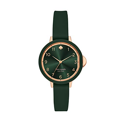 Kate Spade New York Women's Park Row Quartz Metal and Silicone Three-Hand Watch, Color: Green/Rose Gold (Model: KSW1543)