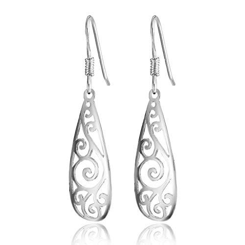 Gymqian Novelty Jewelry-Womens Drop Earrings S925 Sterling Silver Hollow Teardrop Filigree Tear Lightweight 40X9Mm Earring