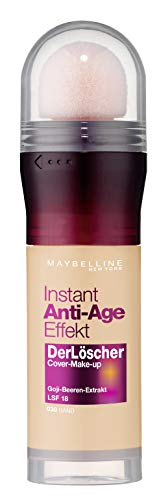 Maybelline New York Make Up mit LSF 18 und Anti-Aging Effekt, Instant Anti-Age Löscher Foundation, Nr. 30 Sand, 20 ml