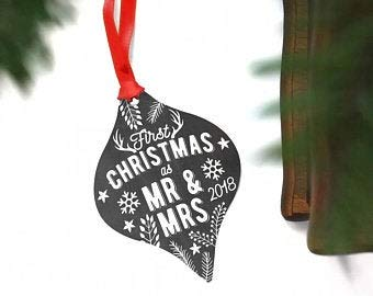 Wedding Ornament for Christmas Bride and Groom - First Christmas As Mr and Mrs - First Christmas Married - Wedding Ornament Personalized
