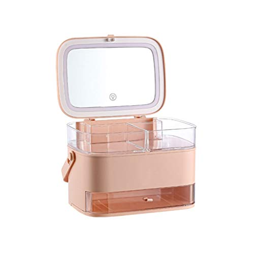 ZBQLKM Makeup Organizer Acrylic Cosmetic Storage,Cosmetic Storage Box with Full-Open Waterproof and Dustproof Transparent Cover, Portable Handle, with Drawer, with LED Light Cosmetic Organiser