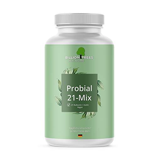 Probial 21 Mix | 21 Bakterienstämme + Maximum an Inulin | 180 magensaftresistente Kapseln (DRcaps ®) | Ideale Dosierung aus Bakterien und Inulin | Vegan | Verarbeitet und geprüft in Deutschland