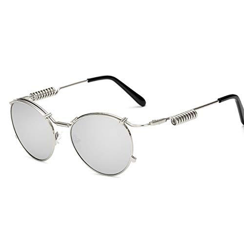 YTYASO Gafas de Sol Punk Steam Mirror Montura Ovalada de Metal Gafas de Sol con Montura de Doble Resorte Gafas de Sol para Hombres y Mujeres Multicolor