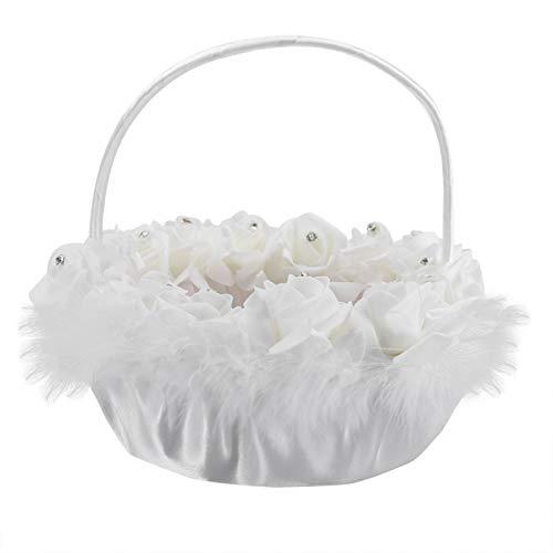 Cesta romántica de encaje de flores de boda con decoración, suministros de boda, cesta de boda, cesta de encaje de boda zm47
