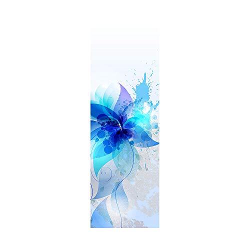 Pegatinas de nevera para cubrir puertas completas 3D azul hielo flor autoadhesiva para puerta de refrigerador vinilo profesional papel pintado 60 x 180 cm (1 unidad)