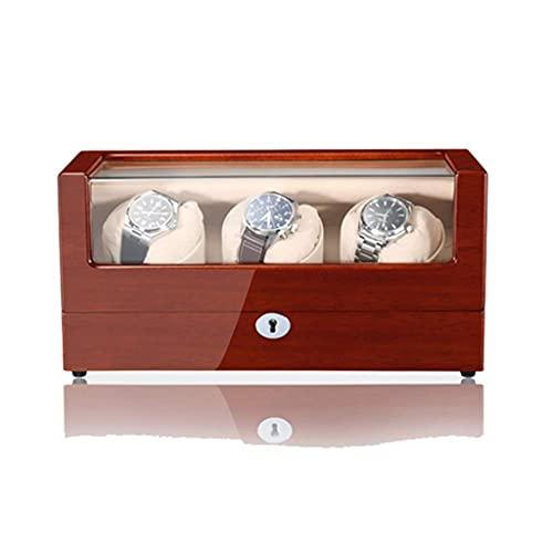 Devanadera automática de madera de lujo para relojes, pintura para piano, interior, almohadas suaves, estuche de almacenamiento con vitrina de almacenamiento japonés silencioso Mabuchi Motor Rocker
