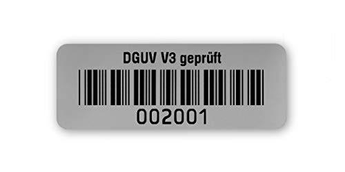 Prüfetiketten DGUV V3 geprüft, 40x15mm, silberoptik matt, fertig bedruckt mit 6-stelligem fortlaufendem Barcode 39 ohne Prüfziffer für alle gängigen Prüfgeräte. Nummernkreis 002 001.003 000