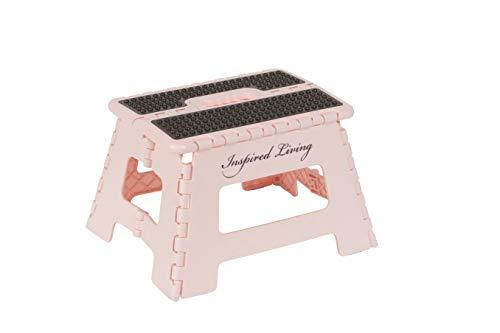 "Inspired Living FOLDING STEP STOOL HEAVY DUTY Furniture11, 9"" High, BLUSH PINK"