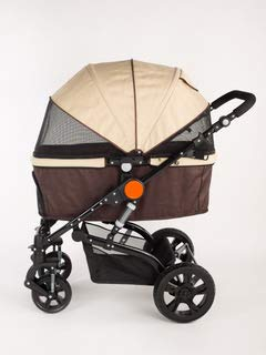 COOL PET Cochecito para perros de hasta 30 kg, 4 ruedas, carrito para perros y gatos, carrito para perros grandes, carrito plegable (marrón/beige)