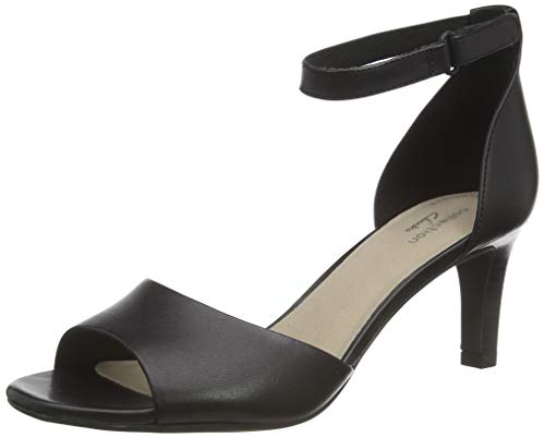 Clarks Damen Alice Greta Riemchenpumps, Schwarz (Black Leather Black Leather), 38 EU