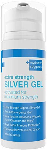 Silver Gel - 35ppm Advanced Colloidal Structured Silver Activated for First Aid/Emergency Gel, Skin Irritations, Wounds, Facial Cleanser, Immune Protection. Burn Cream