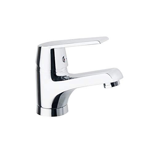 Ramon Soler 60A300727 Cártago - Grifo de lavabo altura S, acabado cromado de alta calidad Diamond Finish, ahorro de agua S2 del 50%, limitador de temperatura y sistema anticorrosión patentado, Cromo