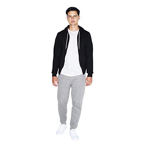 American Apparel Men's Flex Fleece Long Sleeve Zip Hoodie Hooded Sweatshirt, Black, XS