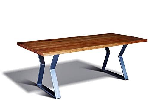 Casa Padrino Luxus Massivholz Esstisch mit Metallgestell - Eiche - 200 cm x 100 cm x H78 cm - Schwere Ausführung