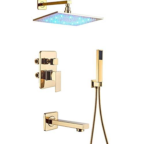 Dpliu DIRIGIÓ Sistema de Ducha con bañera Sistema de Cabezal de Ducha de Lluvia Cuadrada con Juego de Ducha de Mano, Conjunto de grifos de Ducha Dorada de Pared (Size : 10 Inches)