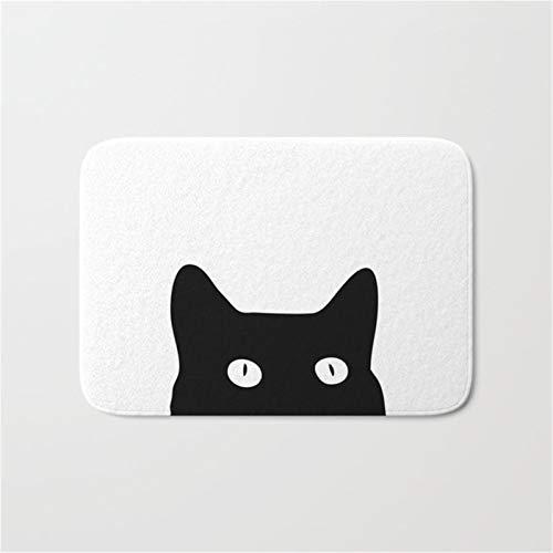JSJJAWS Leuke hanger sleutelhanger antislip badmat zwarte kat badkamer mode accessoires badmatten deurmat antislip douche pad vloer tapijten tapijt kamer deur gift (kleur: 4, maat: 400x600mm)