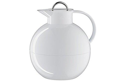 alfi 0105.011.094 Isolierkanne Kugel Sonderedition, Kunststoff glatt Weiß 0,94 l, 12 Stunden heiß, 24 Stunden kalt, mit Edelstahl Deckel