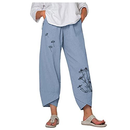 Damen Leinenhose Loose Stoffhose,Mode Löwenzahn Schmetterling Druckt Drawstring Hosen Gamaschen Damen Freizeithose Unregelmäßige Manschetten Strandhose mit Taschen